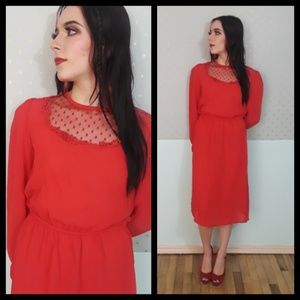 Beautiful vtg 80s red dress with mesh panel!